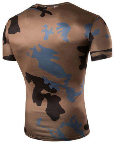Unique Camo Print Air Permeable Design Round Neck Short Sleeves T-Shirt For Men - XL COFFEE Mobile