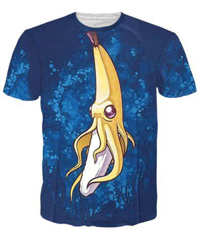 Fashion 3D Cartoon Banana Print Round Neck Character T-Shirt - L COLORMIX Mobile