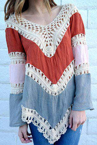 V-Neck Long Sleeve Hollow Out Asymmetrical Women's Cover Up - RED ONE SIZE(FIT SIZE XS TO M)