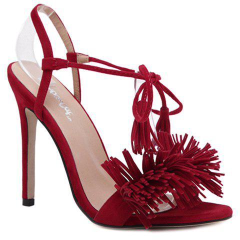 Outfit Tie Ankle High Heel Sandals with Fringe - 40 RED Mobile