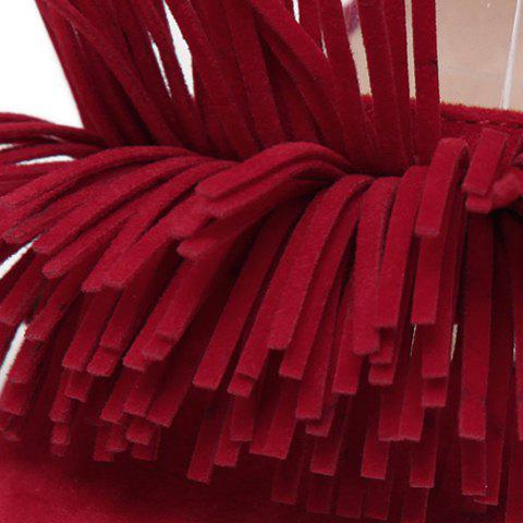 Buy Tie Ankle High Heel Sandals with Fringe - 37 RED Mobile