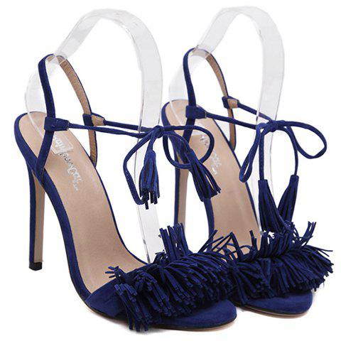 Store Tie Ankle High Heel Sandals with Fringe - 39 BLUE Mobile