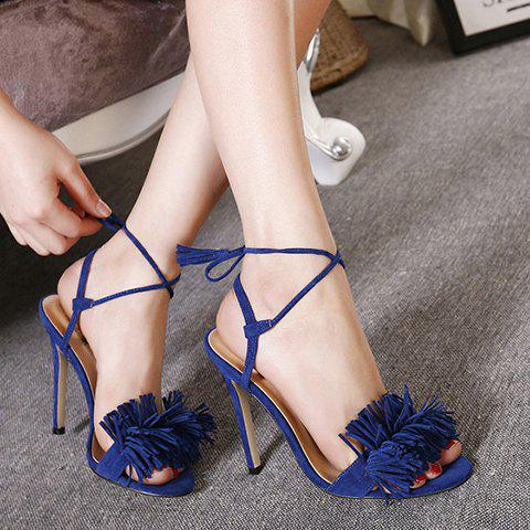Store Tie Ankle High Heel Sandals with Fringe - 38 BLUE Mobile