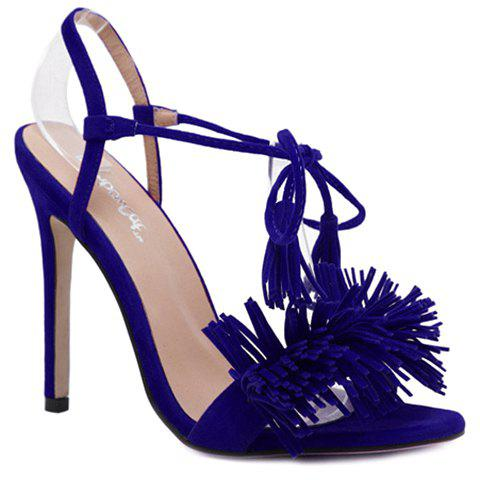New Tie Ankle High Heel Sandals with Fringe - 38 BLUE Mobile