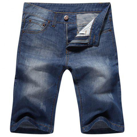Casual Straight Legs Zip Fly Loose Denim Shorts - Blue - 36