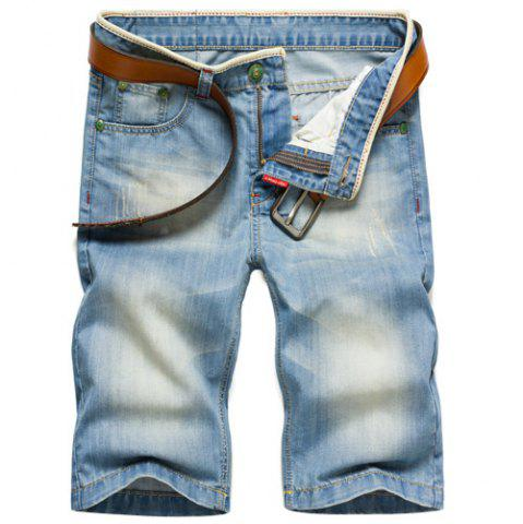 Fashion Zip Fly Straight Legs Denim Blue Jeans Shorts For Men - Light Blue - 33