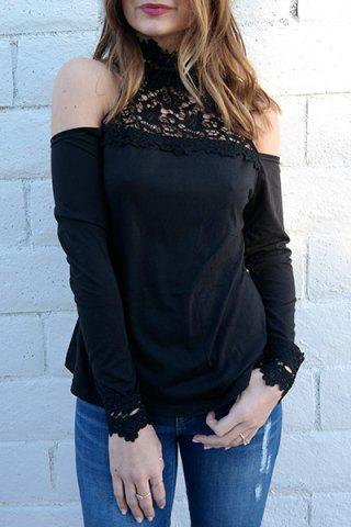 Sale Stylish Stand-Up Collar Long Sleeve Hollow Out Women's Blouse BLACK M