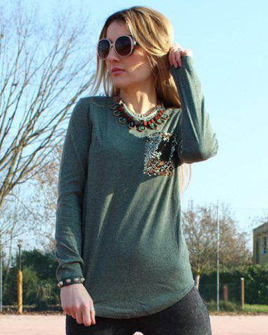 Sale Chic Scoop Collar Long Sleeve Sequined Women's T-Shirt - L BLACKISH GREEN Mobile