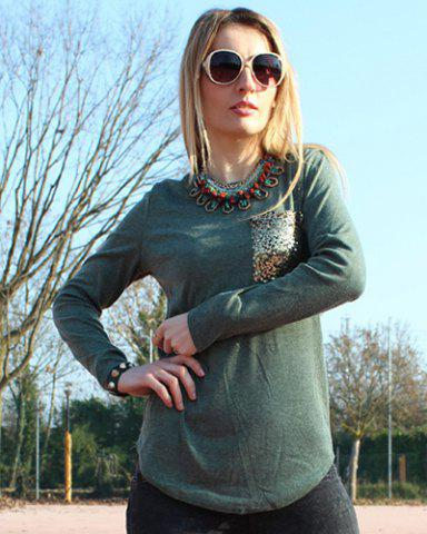 Shops Chic Scoop Collar Long Sleeve Sequined Women's T-Shirt - L BLACKISH GREEN Mobile