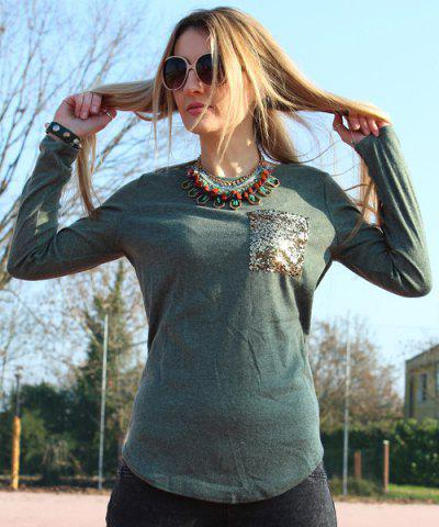 Fashion Chic Scoop Collar Long Sleeve Sequined Women's T-Shirt - L BLACKISH GREEN Mobile
