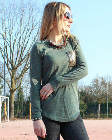 Chic Chic Scoop Collar Long Sleeve Sequined Women's T-Shirt - L BLACKISH GREEN Mobile
