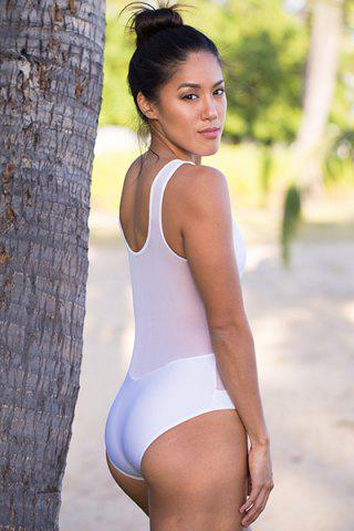 Shop Fashionable Scoop Neck Voile Spliced One-Piece Women's Swimsuit - M WHITE Mobile