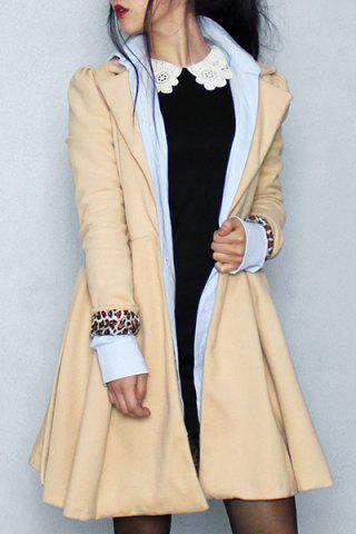 New Noble Turn-Down Collar Long Sleeve Pure Color Self Tie Belt Women's Coat Dress KHAKI S