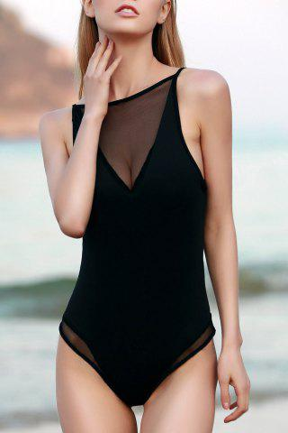 Outfit Sexy See-Through Hollow Back Women's Bodysuit BLACK S