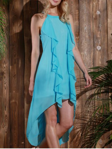 Shop Sleeveless High Low Chiffon Ruffles Flowy Dress LIGHT BLUE M