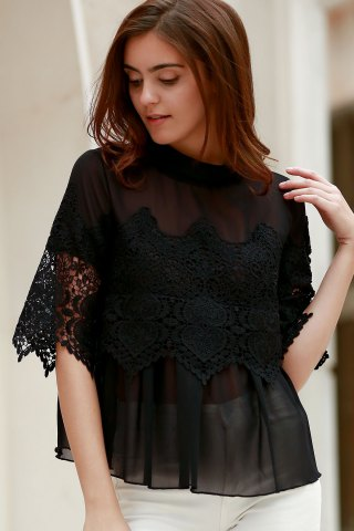 Discount Sheer Lace Chiffon Splicing Blouse BLACK M