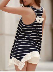 Chic Scoop Neck Sleeveless Striped Bowknot Design Women's Tank Top -