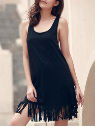 U-Neck Sleeveless Fringed Cover-Up - BLACK L