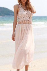 Stylish Scoop Neck Sleeveless Lace Chiffon Spliced Women's Maxi Dress