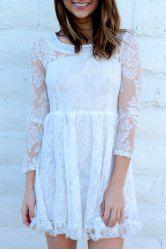 Beaded High Waist Ruffled White Lace Skater Dress with Sleeves - WHITE