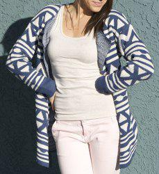 Fashionable Turn-Down Collar Geometric Pattern Long Sleeve Cardigan For Women - BLUE ONE SIZE(FIT SIZE XS TO M)