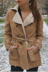 Stylish Turn-Down Collar Long Sleeve Belted Double-Breasted Women's Coat