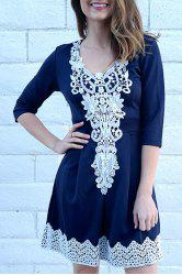 Women's Stylish 1/2 Sleeve Lace Splicing Round Neck A-Line Dress - PURPLISH BLUE