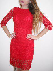 Cut Out Backless Bodycon Lace Short Prom Dress