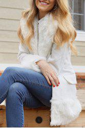 Elegant Turn-Down Collar Long Sleeve White Coat For Women - WHITE