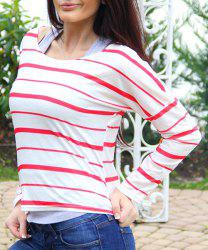 Chic Scoop Neck Striped Elbow Spliced Long Sleeve T-Shirt For Women