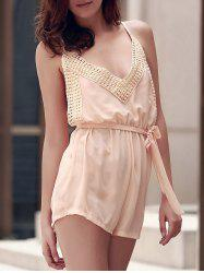 Sexy Spaghetti Strap Sleeveless Solid Color Backless Self Tie Belt Romper For Women -