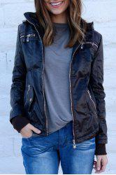 Chic Hooded Solid Color Detachable Sleeve Faux Leather Jacket For Women -