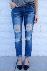 Distressed Tapered Boyfriend Jeans - BLUE