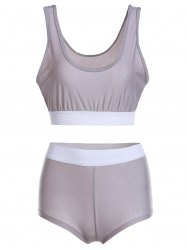 Color Block Sports High Waisted Tankini -