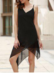 Casual V-Neck Sleeveless Black Handkerchief Dress For Women -