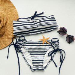 Trendy Halterneck Stripe Bikini Set For Women