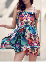 Stylish Spaghetti Strap Sleeveless Printed Flounce Cami Dress For Women