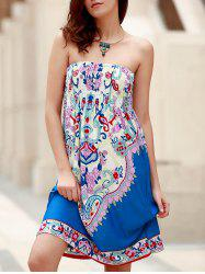 Bohemian Strapless Sleeveless Floral Print Women's Dress