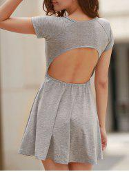 Sweet Scoop Neck High Waist Backless Gray Dress For Women