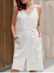 Brief Spaghetti Strap Vertical Stripe Summer Dress For Women