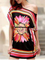 Mini One Shoulder Flower Print Casual Dress