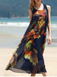 Retro Style U Neck Sleeveless Printed Tea Length Chiffon Dress For Women