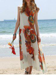 Retro Style Jewel Neck Sleeveless Printed Tea Length Loose Dress For Women