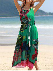 Graceful Round Collar Sleeveless Butterflies Print Tea Length Chiffon Dress For Women - GREEN ONE SIZE(FIT SIZE XS TO M)