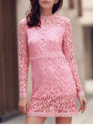 Long Sleeve Keyhole Lace Short Formal Shift Dress - PINK