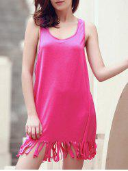 U-Neck Sleeveless Fringed Cover-Up - ROSE