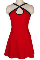 Women's Stylish Spaghetti Strap Red Color Sleeveless Dress -