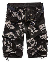 Military Style Zipper Fly Multi-Pocket Loose Fit Straight Leg Camo Shorts For Men - BLACK