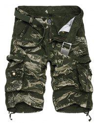 Military Style Zipper Fly Multi-Pocket Loose Fit Straight Leg Camo Shorts For Men - GREEN