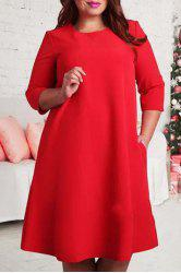 Stylish Jewel Neck 3/4 Sleeve Solid Color Flare Dress For Women